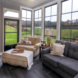 Inspiration for a mid-sized craftsman ceramic tile and gray floor sunroom remodel in Other with a standard ceiling
