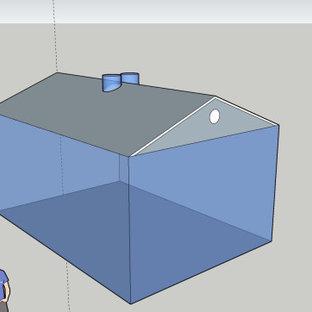 Réalisation d'une véranda minimaliste de taille moyenne avec béton au sol, un puits de lumière et un sol jaune.