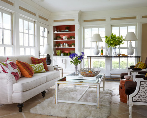 Eclectic Sunroom Newark Inspiration for an eclectic sunroom remodel in New York with terra-cotta floors and a