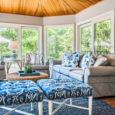 Mid-sized beach style medium tone wood floor and brown floor sunroom photo in Boston with no fireplace and a standard ceiling
