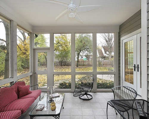 Farmhouse gray sunroom design ideas remodels photos houzz for Farmhouse sunroom ideas