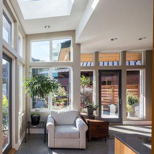 Inspiration för ett mellanstort funkis uterum, med betonggolv och takfönster