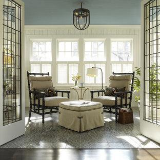 Idee per una veranda chic con soffitto classico e pavimento multicolore