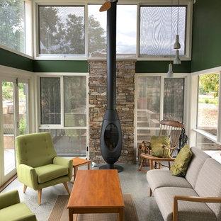 Diseño de galería contemporánea, pequeña, con suelo de cemento, estufa de leña, marco de chimenea de piedra, techo estándar y suelo gris