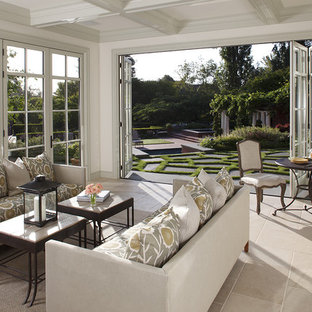 Inspiration for a mid-sized timeless limestone floor and beige floor sunroom remodel in San Francisco with no fireplace and a standard ceiling