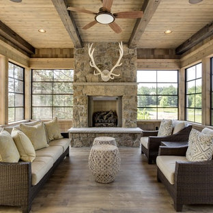 Surprising 75 Beautiful Rustic Sunroom Pictures Ideas Houzz Caraccident5 Cool Chair Designs And Ideas Caraccident5Info