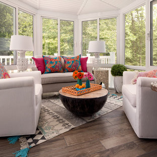 Photo of a small classic conservatory in DC Metro with ceramic flooring and grey floors.