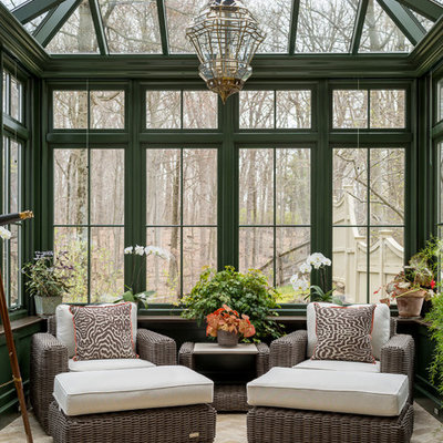 Sunroom - mid-sized traditional limestone floor and beige floor sunroom idea in New York with a glass ceiling