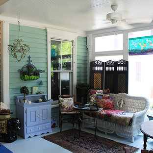 Example of a mid-sized classic painted wood floor and white floor sunroom design in Raleigh with no fireplace and a standard ceiling