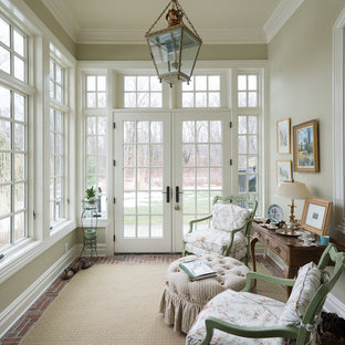 Inspiration for a small classic conservatory in New York with brick flooring, no fireplace and a standard ceiling.