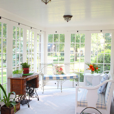 Example of a mid-sized classic carpeted and white floor sunroom design in Boston with a standard ceiling and no fireplace