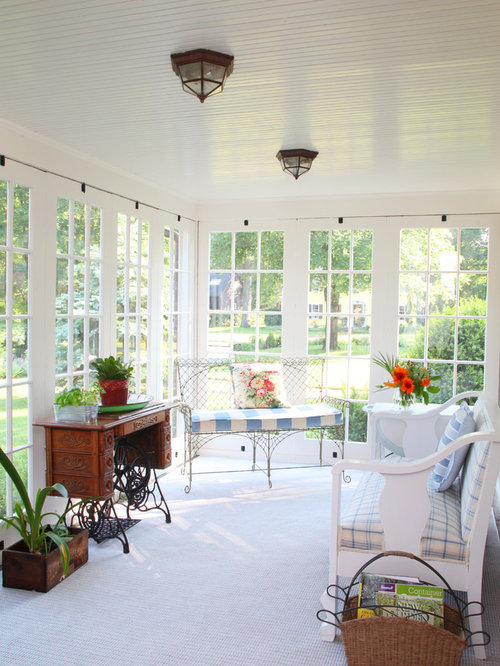 Example Of A Mid Sized Classic Carpeted And White Floor Sunroom Design In  Boston With