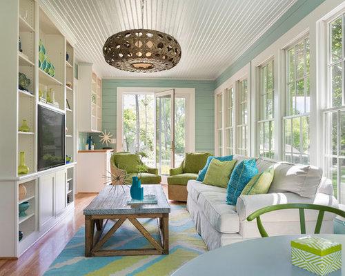 Coastal Medium Tone Wood Floor And Beige Floor Sunroom Photo In Providence  With A Standard Ceiling