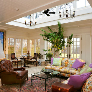 Large classic conservatory in Cincinnati with a skylight, ceramic flooring, no fireplace and beige floors.