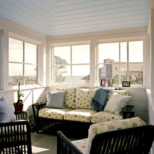 Inspiration for a beach style sunroom remodel in Boston with a standard ceiling