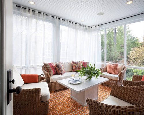 latest curtains designs for living room. Transitional orange floor sunroom idea in Chicago with a standard ceiling Latest Curtains Designs  Houzz