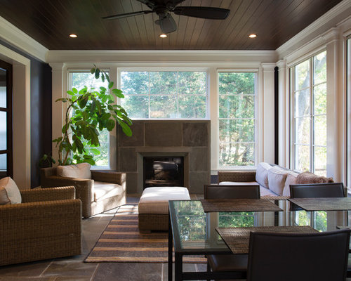 moderner wintergarten mit gefliestem kaminsims ideen. Black Bedroom Furniture Sets. Home Design Ideas