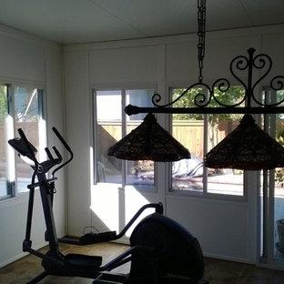 Foto di una veranda contemporanea di medie dimensioni con pavimento in linoleum e soffitto classico