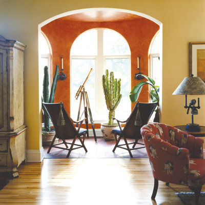 Example of a small tuscan terra-cotta tile sunroom design in Minneapolis with no fireplace and a standard ceiling