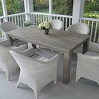 "Kingsley-Bate Outdoor Patio and Garden Furniture - Kingsley-Bate's Valhalla tables are constructed from reclaimed teak with a gray wash finish. Unlike their standard Grade-A wood, reclaimed timber exhibits natural imperfections that give a unique, rustic character to each piece. Table is treated with an exterior-grade, gray wash finish for stain resistance and an antique, weathered, appearance. Both dining and occasional tables are offered, including a 73"" and 96″ dining rectangular table, 24"" square side table, and 55"" rectangular coffee table. The 72"" dining table comfortably seats six while the 96"" table seats eight, and pairs well with a variety of their woven dining chairs. The occasional tables complement any woven seating collection beautifully."