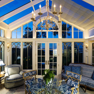 Sunroom - traditional sunroom idea in Minneapolis with a glass ceiling