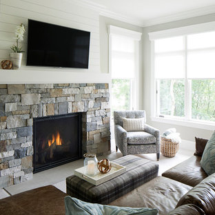 Design ideas for a medium sized conservatory in Minneapolis with carpet, a standard fireplace and a stone fireplace surround.