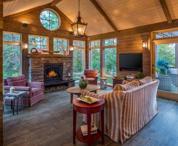 Rustic Sunroom by Cielo Home Interior Design