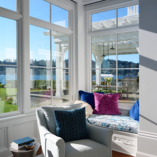 Sunroom - small transitional dark wood floor and brown floor sunroom idea in Seattle with no fireplace and a standard ceiling