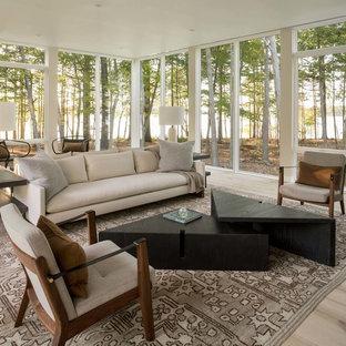 Idee per una veranda minimal con parquet chiaro, soffitto classico e pavimento grigio