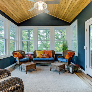 Example of a transitional medium tone wood floor and brown floor sunroom design in Other with no fireplace and a standard ceiling