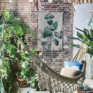 Idee per una piccola veranda minimal con pavimento in cemento, soffitto classico e pavimento grigio