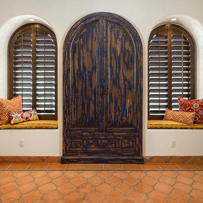 Inspiration for a large mediterranean terra-cotta tile and orange floor sunroom remodel in Phoenix