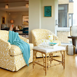 Inspiration for a small transitional light wood floor and yellow floor sunroom remodel in New York with no fireplace and a standard ceiling