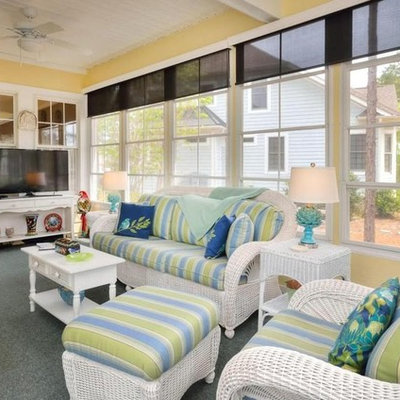 Sunroom - huge coastal carpeted and blue floor sunroom idea in Wilmington with no fireplace and a standard ceiling