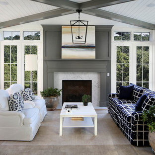 Sunroom - mid-sized country gray floor sunroom idea in San Francisco with a standard fireplace, a standard ceiling and a stone fireplace
