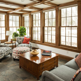 Sunroom - craftsman sunroom idea in Minneapolis with no fireplace and a standard ceiling
