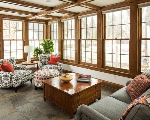 craftsman sunroom idea in minneapolis with a standard ceiling - Sunroom Ideas Designs