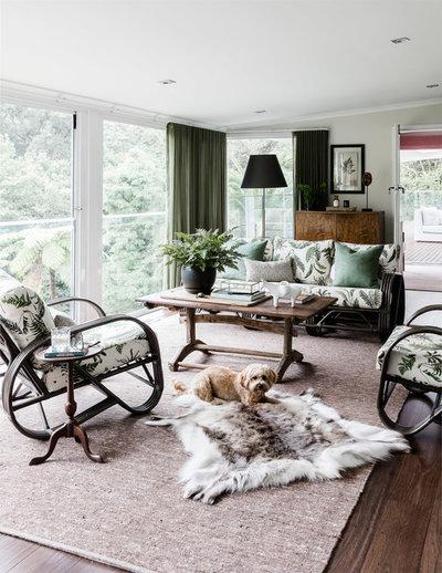 Eclectic Sunroom by Lisa Burdus Interior Design