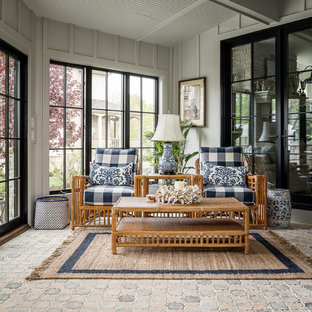 Inspiration for a country brick floor and multicolored floor sunroom remodel in Chicago with a standard ceiling