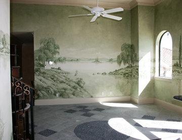 Monochromatic Italian Landscape Mural