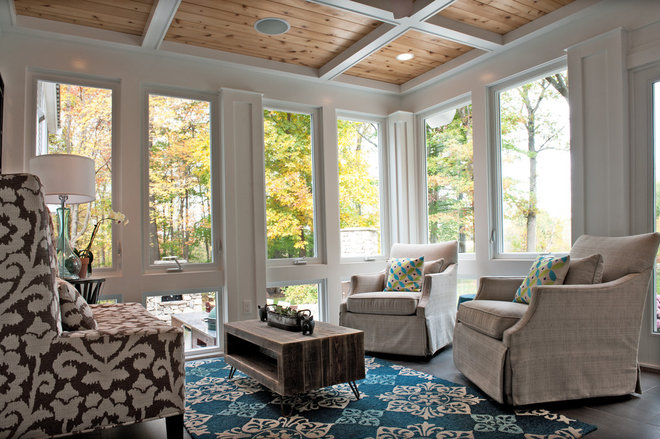 transitional porch by Mary Prince