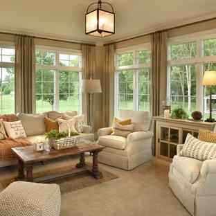 Foto di una veranda chic con moquette, nessun camino e soffitto classico