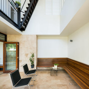 Inspiration for a contemporary sunroom in Brisbane with a standard ceiling and beige floor.