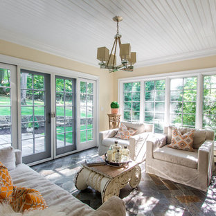 Mid-sized elegant slate floor sunroom photo in New York with a standard ceiling