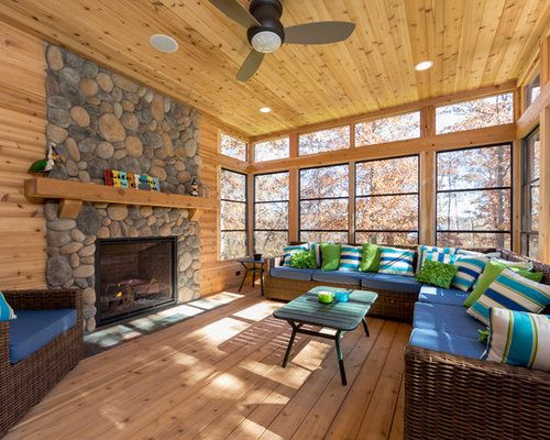 Rustic sunroom houzz for Log home sunrooms