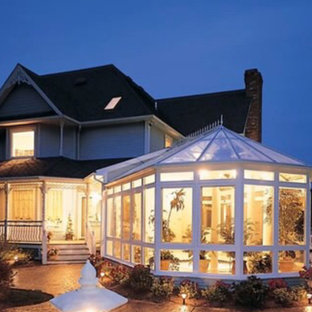 Example of a mid-sized ornate sunroom design in Nashville with a glass ceiling