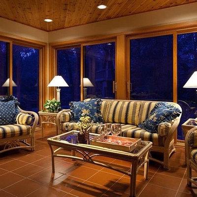 Sunroom - small coastal ceramic tile and brown floor sunroom idea in Nashville with a standard ceiling