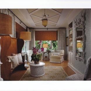 Exemple d'une véranda éclectique de taille moyenne avec un sol en liège et un plafond standard.