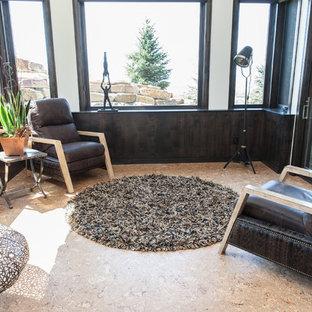 Cette image montre une petit véranda design avec un sol en liège, aucune cheminée et un plafond standard.