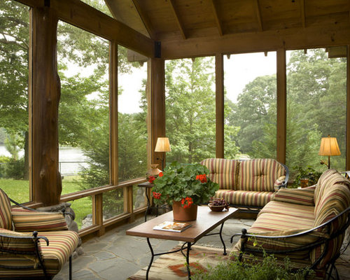 Rustic green sunroom design ideas remodels photos houzz for Rustic sunrooms